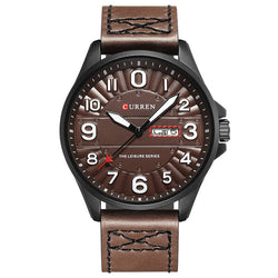 CURREN 8269 Calendar Luminous Display Leather Band Quartz Watch Steel Case Men Watch