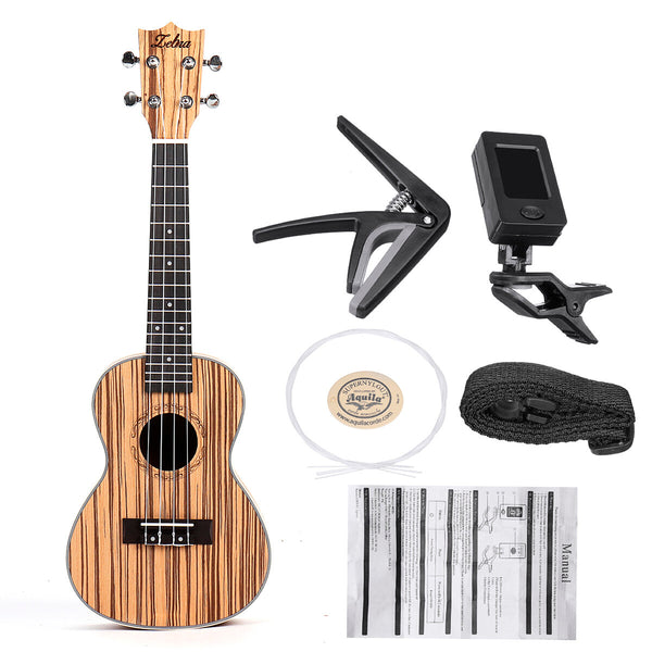 Zebra 21 23 Inch Full 4 Strings Sapele Ukulele Acoustic Musical Guitar