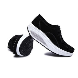 Women Casual Shoes Athletic Shook Shoes Round Toe Lace Up Shoes Soft Sole Shoes - EY Shopping