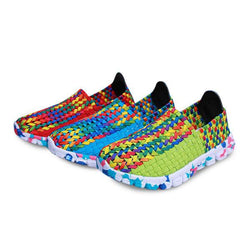 US Size 5-10 Women Casual Hand-made Knitting Shoes Outdoor Breathable Comfortable Flats Shoes - EY Shopping