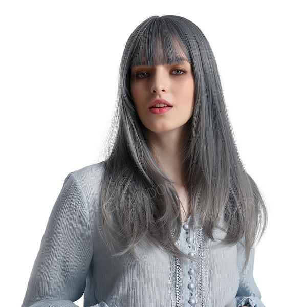 High Temperature Silk Synthetic Wig Length 22 inches Light Blue Gradient Color Long Straight Hair air bangs cute youth natural full head cover easy to wear