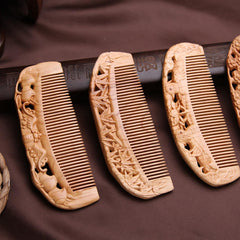Carved Wooden Comb Natural Peach Wood Anti-Static Massage Comb Retro Chinese Style Combs