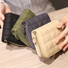 Women Quilted Zipper Short Wallet Girls Cute Mini Purse Card Holder Coin Bags