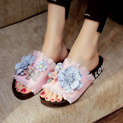 Women Casual Beach Flowers Denim Cloth Slippers