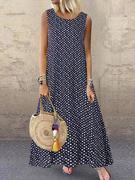 Women Bohemian Sleeveless O-neck Polka Dot Print Maxi Dress - EY Shopping