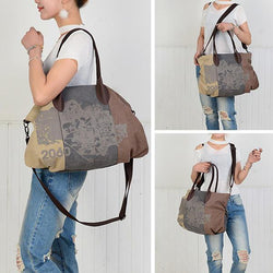 Vintage Large Capacity Women Canvas Casual Hobos Bag Ladies Crossbody Bags Ruched Solid Handbag - EY Shopping