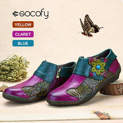 SOCOFY Printing Splicing Plant Pattern Hook Loop Flat Leather Shoes - EY Shopping