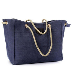 Women Canvas Rope Tote Bags Casual Shoulder Bags Capacity Shopping Bags - EY Shopping
