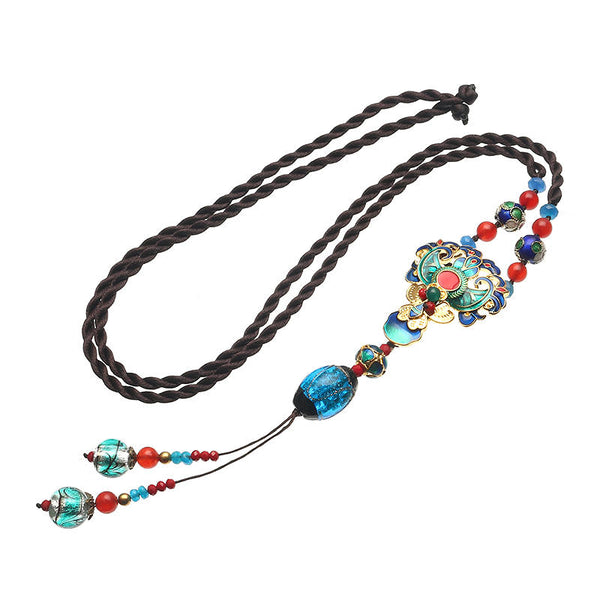 Ethnic Retro Necklace Vintage Jade Beads Rope Long Necklace For Women