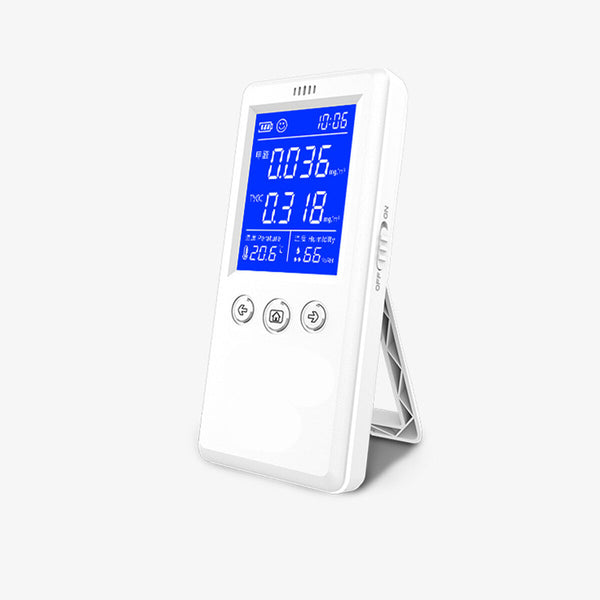 Portable Air Quality Detector Rechargeable HCHO TVOC Tester Thermo-hygrometer Alarm Clock