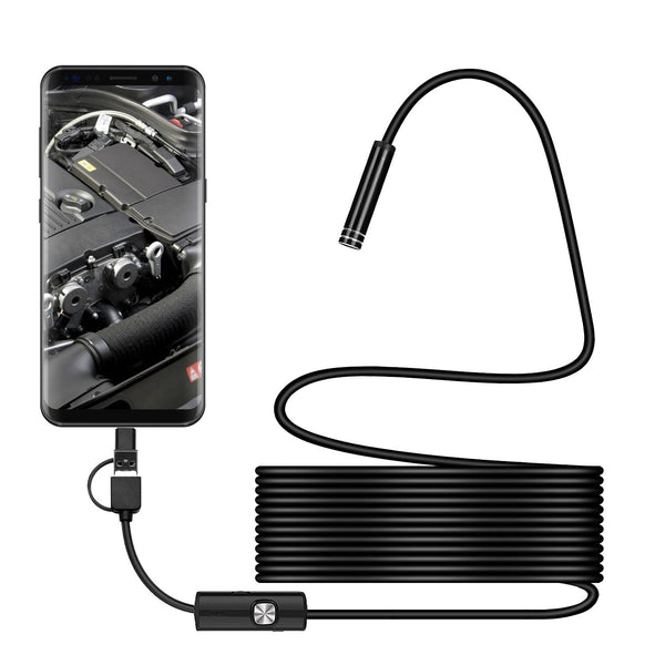 Bakeey 3 in 1 7mm 6Led Type C Micro USB Borescope Inspection Camera Soft Cable for Android PC