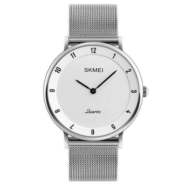 SKMEI 1264 Casual Style Ultra Thin Men Watch Stainless Steel Wristband Quartz Movement Watch