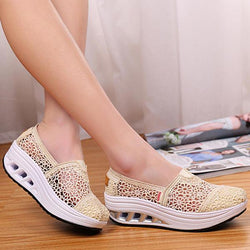 Hollow Out Lace Rocker Sole Slip On Casual Round Toe Health Shoes - EY Shopping