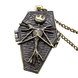DEFFRUN Nightmare Before Christmas Quartz Pocket Watch Retro Antique Pendant Necklace Children Gift