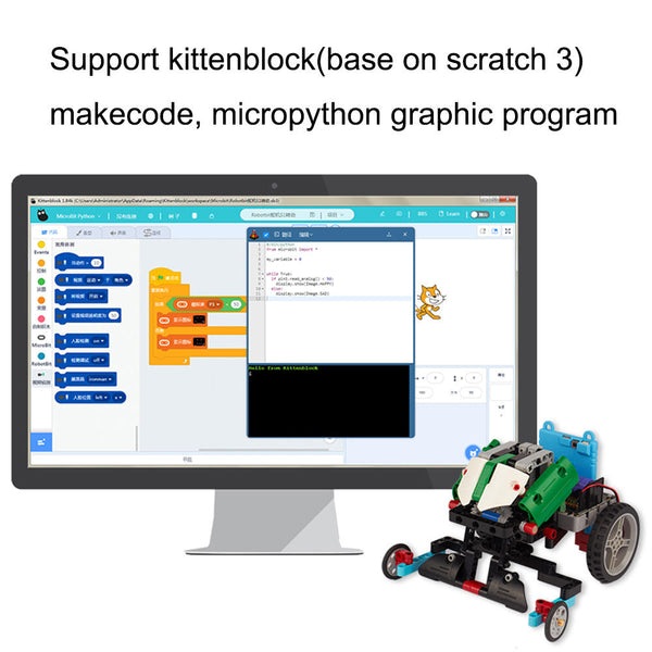 Kittenbot 12 In 1 DIY Block Building Microbit Program RC Robot Tracking Obstacle Avoidance Robot Toy