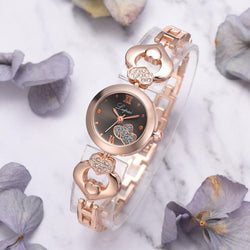 LVPAI P827 Crystal Love Heart Gift Women Wrist Watch Full Steel Casual Style Quartz Watches