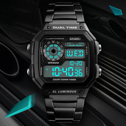 SKMEI 1335 Digital Watch Men Chronograph Alarm Watch Fashion Style Stainless Steel Sport Watch