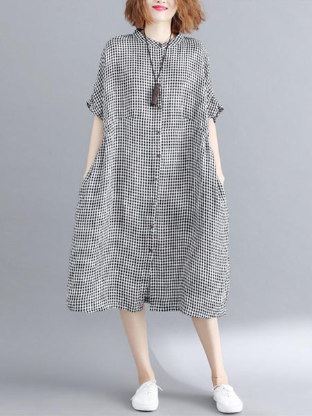 Women Loose Casual Short Sleeve Button Plaid Shirt Dress - EY Shopping