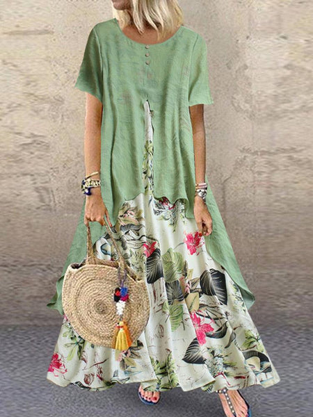 Vintage Short Sleeve O-neck Print Patchwork Pocket Long Maxi Dress For Women - EY Shopping