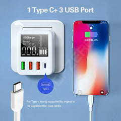 Bakeey 4-Port QC 3.0 USB Type-C Charger LCD Screen Display 30W Wall Charger Adapter For iPhone XS 11Pro Huawei P30 P40 Pro Xiaomi MI10 Redmi K30