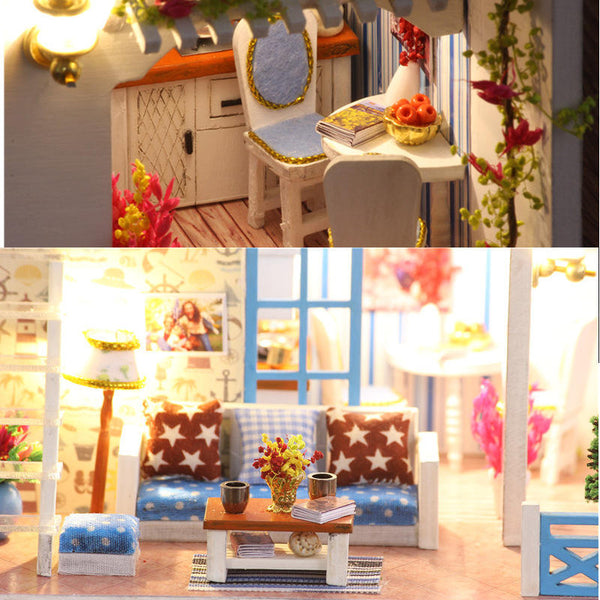 iiecreate K-019 Helen The Other Shore DIY Dollhouse With Furniture Light Music Cover Gift House Toy