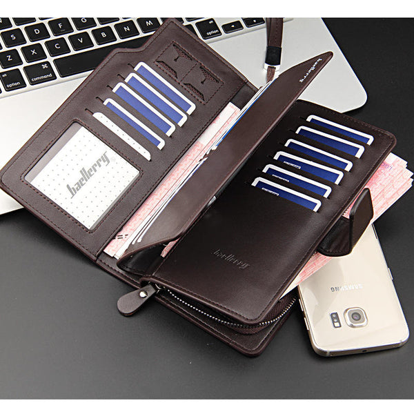 New Fashion Retro Casual Locomotive Multi-function Zipper Buckle Men's Phone Wallet Bag For All Smartphone Under 7 inch
