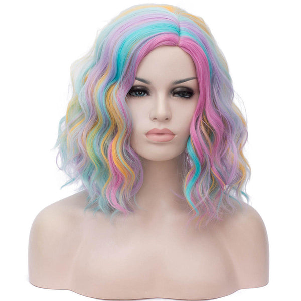 Short Cosplay Wigs for Women Rainbow Color Wavy Wig Side Central Hairline Cos Synthetic Rose Net Ombre Hair