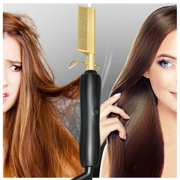 Multifunction Beard Straightening Hot Comb Electric Straight Hair Brush Styling Gold Irons Hair Straightener Quick Heating