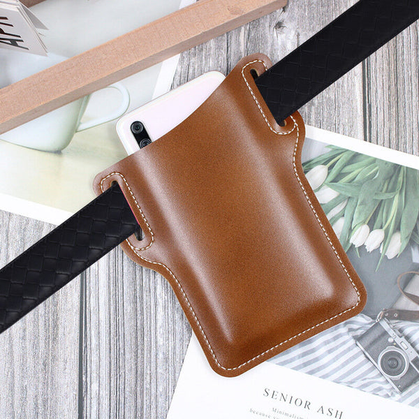 Bakeey Men Vintage Casual Genuine Leather Bag Waist Bag Pouch Leather Belt Bag Purse Under For 6.3 inch Phone Nokia Phone Ulefone Armor 9