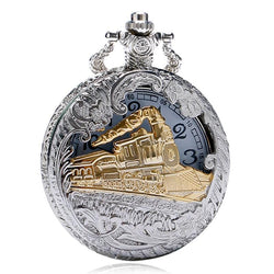Deffrun Vintage Style Silver Case Unisex Watch 3D Design Cover Pocket Watches