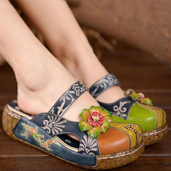 SOCOFY Vintage Colorful Leather Hollow Out Backless Flower Shoes - EY Shopping