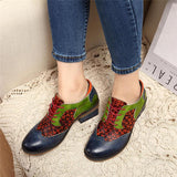 SOCOFY Handmade Stitching Lace Up Genuine Leather Flats Shoes - EY Shopping