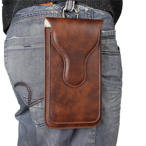Bakeey Men Faux Leather Universal Phone Pouch Retro Rhino Pattern Double-layer Phone Bag Waist Bag UMIDIGI S5 Pro Phone Case