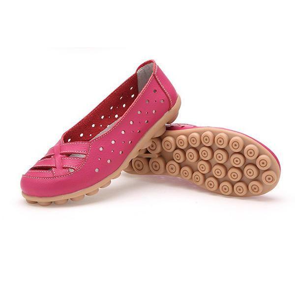 Women Flats Shoes Comfortable Soft Slip On Hollow Out Leather Casual Flat Loafers Shoes - EY Shopping