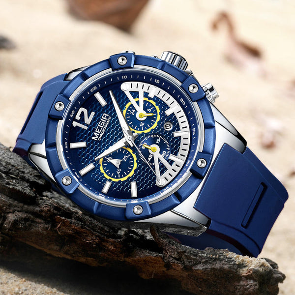 MEGIR 2083G Military Design Chronograph Silicone Waterproof Quartz Watch Men Wrist Watch