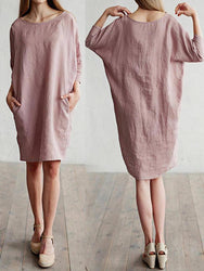 Casual Women Loose Cotton Linen Round Neck 3/4 Sleeve Dress - EY Shopping