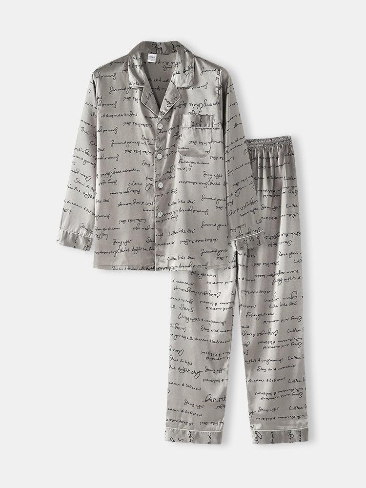 Mens Allover Slogan Print Flap Pocket Faux Silk Home Long Sleeve Lounge Pajama - EY Shopping