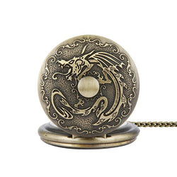 DEFFRUN Retro Bronze Classic Dragon Pattern Chain Quartz Pocket Watch