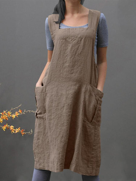 Women Sleeveless Side Pockets Cotton Loose Solid Color Vintage Apron Dress - EY Shopping