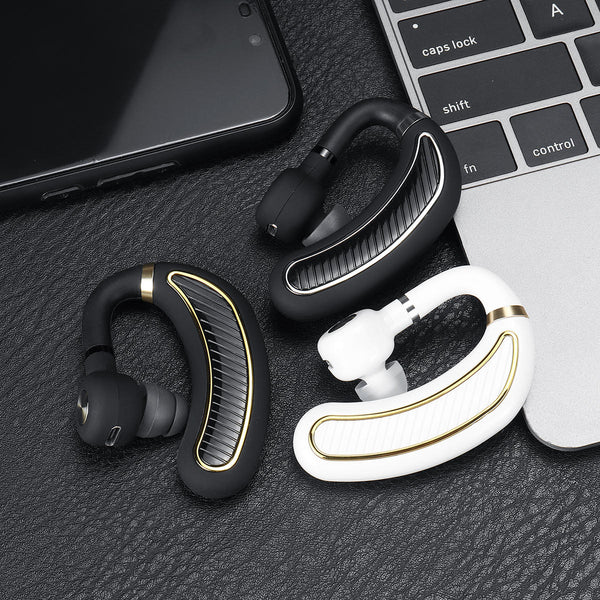 Portable Lightweight Single Wireless bluetooth 5.0 Earhook Noise Cancelling Earphone Headphone with Mic