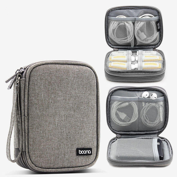 Boona 15* 11.5cm Double Deck Digital Accessories Storage Bag Earphone Flash Drive Hard Disk USB Cable Organizer Bag