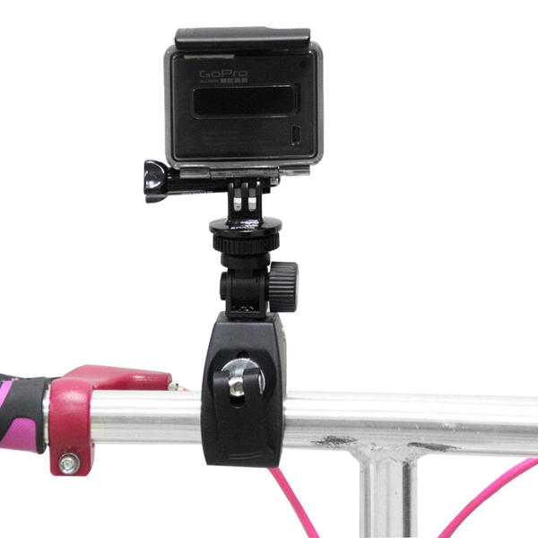 PULUZ Black Motorcycle Bicycle Handlebar Holder with Tripod Mount Screw for Gopro SJCAM Yi