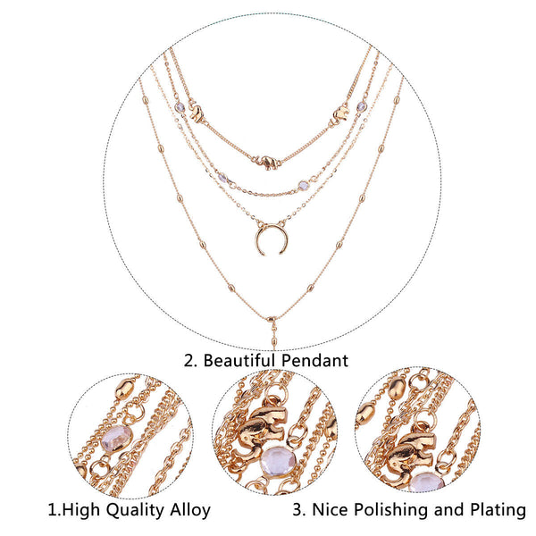 Bohemian Multilayer Moon Pendant Necklace Fashion Rhinestone Chain Charm Necklace Trendy Jewelry