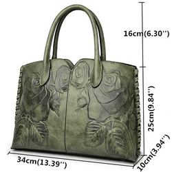 Women Retro PU Leather Handbag Embossed Peony Chinese Style Large Capacity Crossbody Bag - EY Shopping