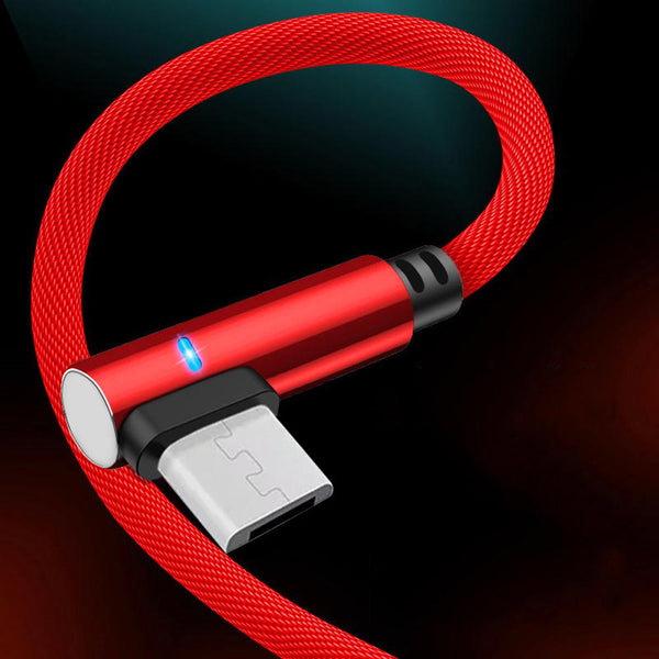 Bakeey 3A Type-C Micro USB Smart Indicator Light Fast Charging Elbow Data Cable For Huawei P30 Mate 30 Xiaomi 9 Pro Redmi 7A Redmi 6Pro S10+ Note10
