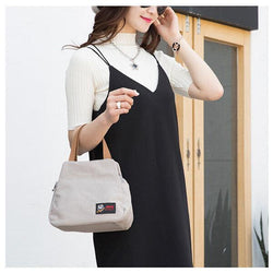 Women Canvas Casual Daily Double Zipper Layer  Capacity Handbag - EY Shopping