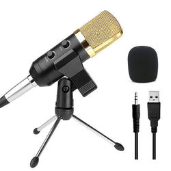 Audio Dynamic USB Condenser Sound Recording Vocal Microphone Mic With Stand Mount