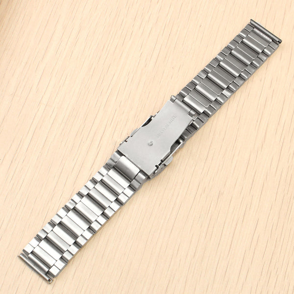 20mm 22mm 24mm Solid Link Silver Stainless Steel Watch Band