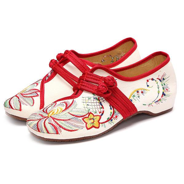 US Size 5-12 Women Casual Embroidery Floral Slip On Outdoor Flat Shoes - EY Shopping