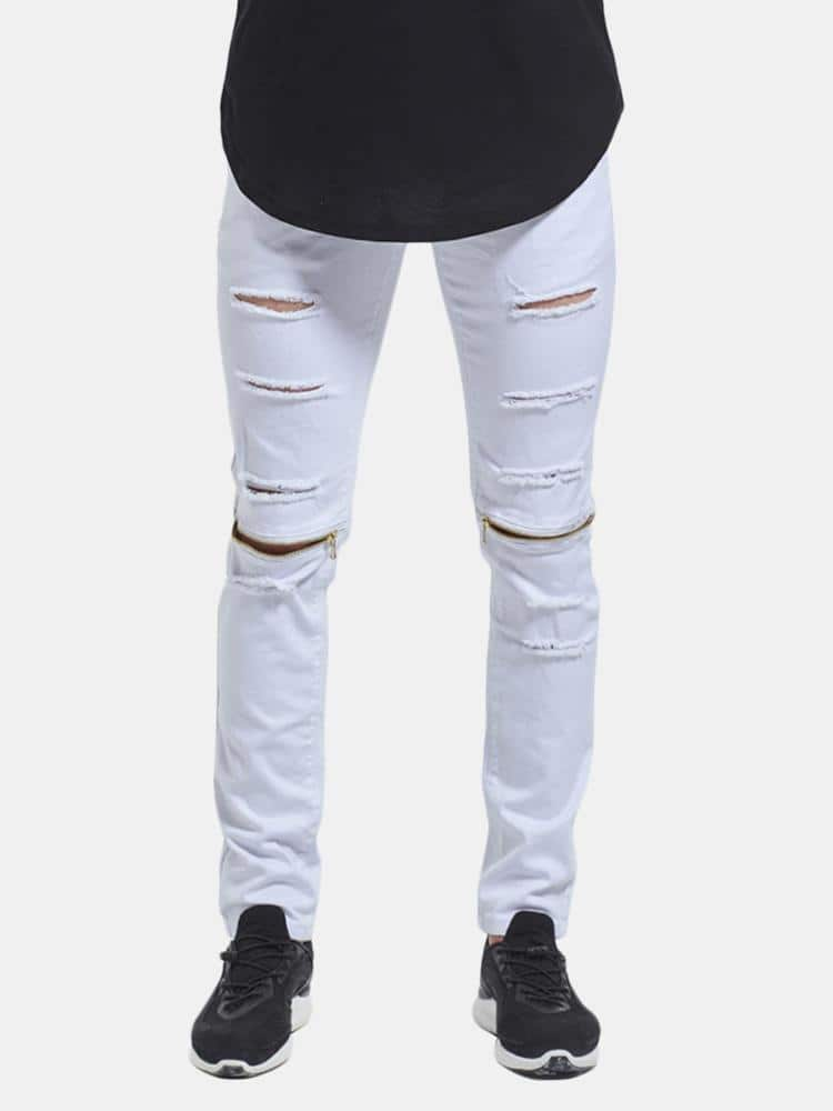 Skinny Hip Hop Ripped Holes Knee Zipper Jeans - EY Shopping